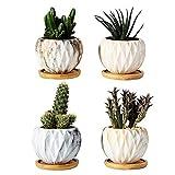 Mengxin 9.5CM Macetas Ceramica Pequeñas Textura de Mármol Mini Macetas para Cactus...