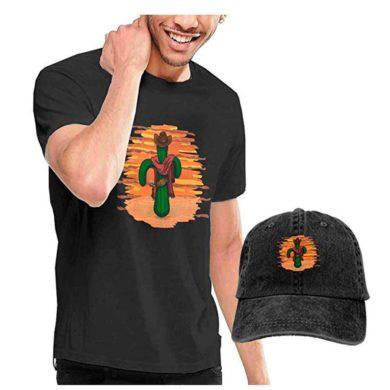 Camiseta negra con cactus de hombre