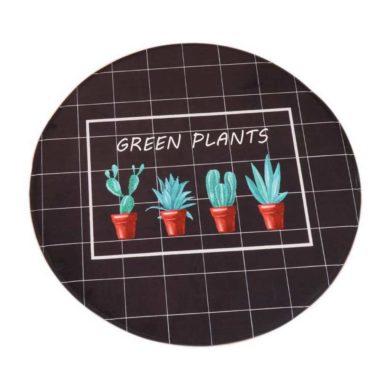 Alfombra redonda de cactus negra