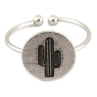 Anillo de plata con cactus serigrafiado