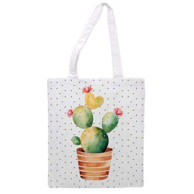 Bolsa de compra reutilizable con cactus