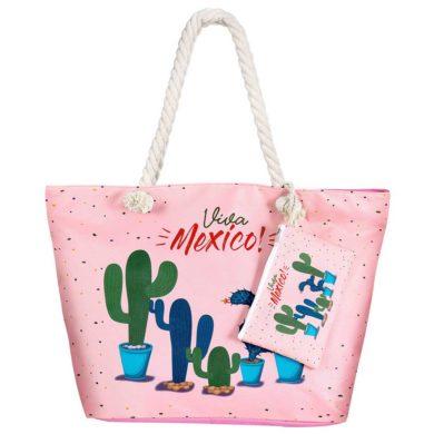Bolsa de playa de cactus rosa