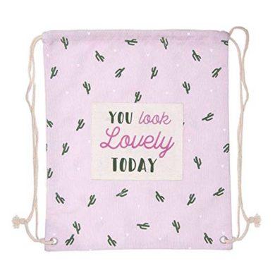 Bolsa de tela con cuerdas rosa