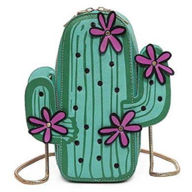 Bolso con forma de cactus y flores