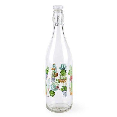 Botella de cristal transparente de cactus