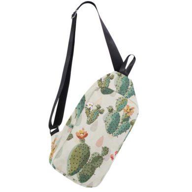 Mochila bandolera con cactus blanca