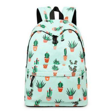 Mochila para colegio de cactus verde