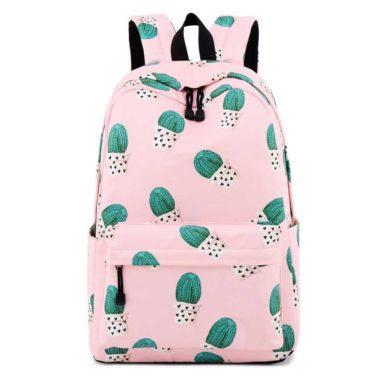 Mochila escolar de cactus rosa