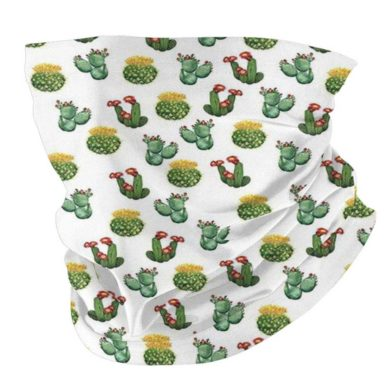 Bandana blanca estampada cactus