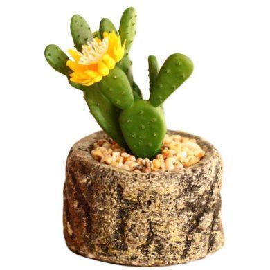 Mini cactus artificial con flor