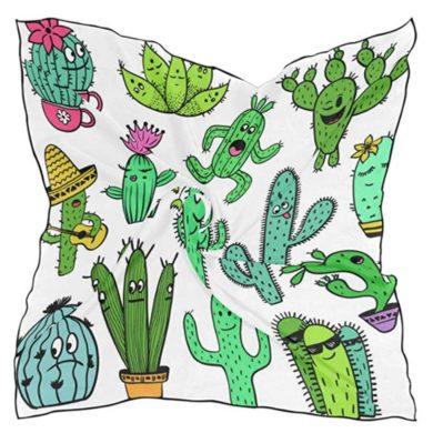 Pañuelo blanco con cactus