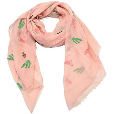 Pañuelo y bufanda rosa de cactus
