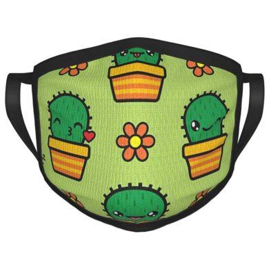 Tapabocas de adulto divertido con cactus